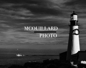 Portland Head Light - 4x6 Black & White Print