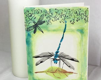 Hand Painted Dragonfly Greeting Card