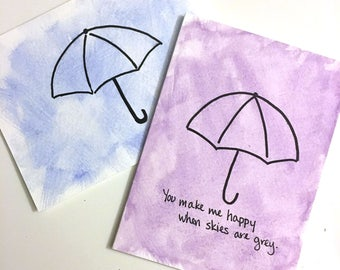 When Skies Are Grey Umbrella Card