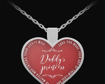 Dad Daughter Jewelry - Daddy's Princess Necklace - Best Fathers Day Gifts - Heart Pendant