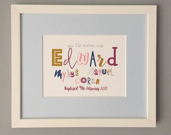 Bespoke Typography Baptism Print/ Personalised Print/ Bespoke Christening Gifts/ Custom Typography Name Art/ Children's Gifts/ kids decor