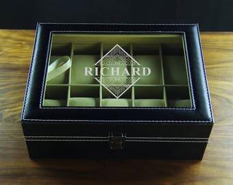Personalized Watch box, 10 holders - Groomsmen gift, wedding memento, wedding gift, husband gift, best man gift, custom groom gift