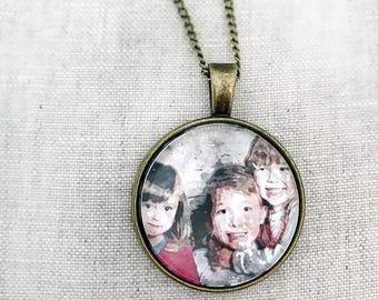 Family Necklace, Child Photo Necklace, Custom family Necklace, Custom child Photo pendant, Personalized family necklace, Custom watercolor