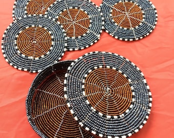 Beaded Coasters with Matching Container by Maasai Women of Kenya
