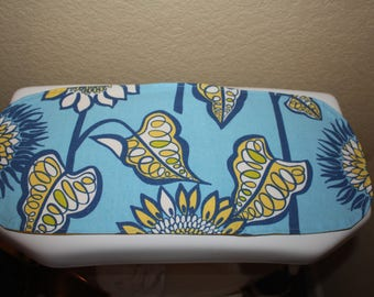 Toilet tank topper, toilet tank cover, bathroom decor, small table runner reversible.