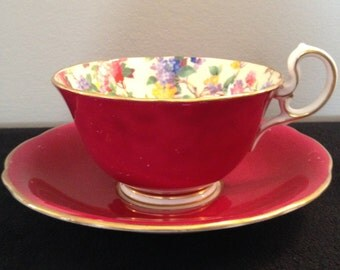 Aynsley Vintage 1920s painted teacup and saucer