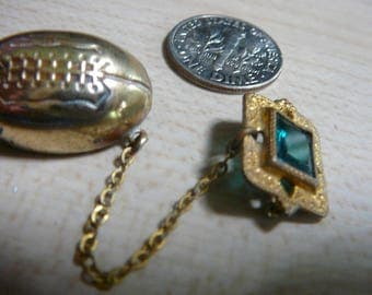 1920 1930 RARE Rugby C-clasp Pin Brass Green faceted Paste chained Lavaliere Real Deal Athletic Awards Unmarked