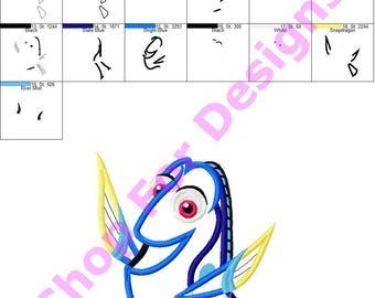 Blue Tang Fish Applique Design
