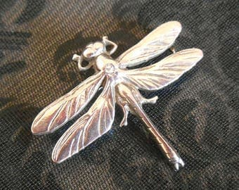 Vintage Dragonfly Brooch, Pewter,