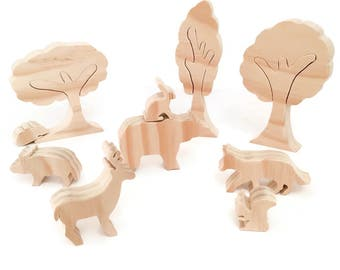 Forest animal wooden toy set - unpainted eco friendly toys - waldorf figurines - gift for kids