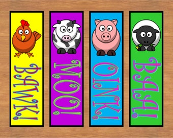 Printable Farm Animal Bookmarks, Cow Bookmark, Chicken Bookmark, Sheep Bookmark printable, Set of 4, Instant Download, Reader Gift