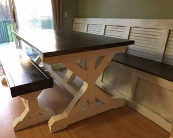 Custom farmhouse table and bench
