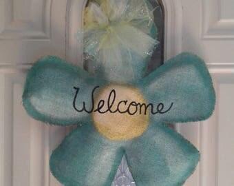Spring Flower Burlap Door Hanger