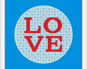 Love Cross Stitch Pattern PDF