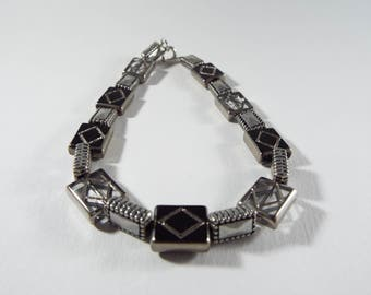 Acrylic and Metal Bracelet  inspired by the 60's Mod  Era.