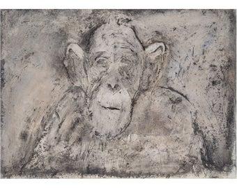 Chimp print,Wildlife print,Chimpanzee art, Wall art,Chimp art print,Chimp artwork,Wall decor,Monkey print,Animal wall art