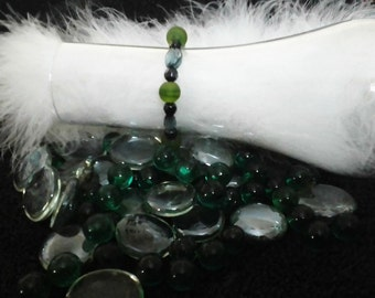 Green\navy bracelet, Boho bracelet, beaded bracelet