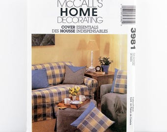McCall's Pattern 3981 SLIPCOVERS for Sofa, Pillow Cover, Chair Cover, Ottoman, Throw Pillows, Window Treatments, Home Decor Sewing Patterns