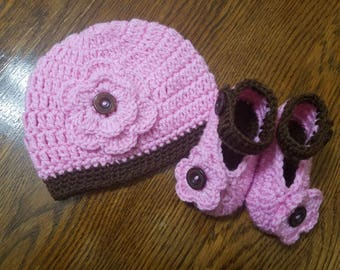 Crochet Baby Girl  Hat & Bootie set