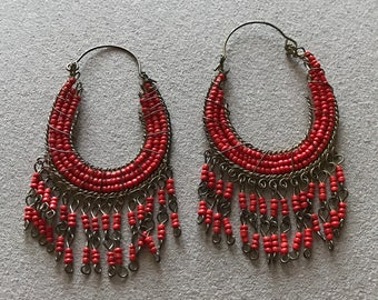 Vintage Coral Chandelier Costume Earrings