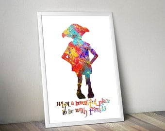 Harry Potter / Harry Potter Print / Dobby / Large poster Sizes / Watercolor Print / Watercolor Poster /