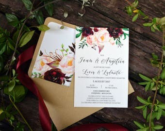 Marsala Rustic Wedding Invitation Template, Bohemian Wedding, Invitation Set, Outdoor Wedding, Floral Watercolor, Wedding Invite Set  #MF001