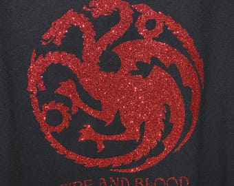 House Targaryn, fire and blood, game of thrones dragons, womens shirt, red glitter shirt
