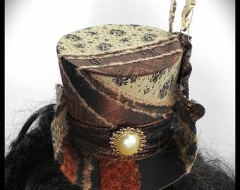 Ladies steampunk Mini Top hat. One off design. Ready to ship now! Brown top hat