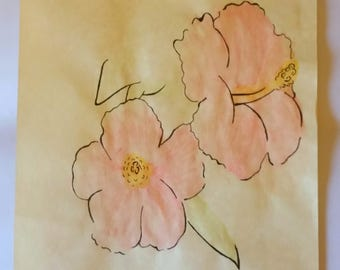 Hibiscus Flower, A4 Original Illustration, One of a Kind, Hand Drawn, Parchment Paper