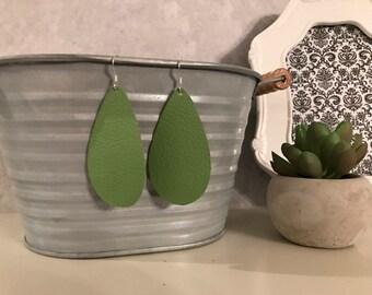 Green leather teardrop earring