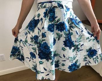 SALE - Blue Floral Wrap Skirt