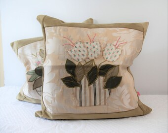 Pair of cushion covers Damascus vivid flowers, precious cushion, cushion in Damascus, gift for her