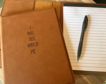 """Engraved 7"""" x 9"""" Rawhide Mini Portfolio with Notepad - JUST WATCH ME."""