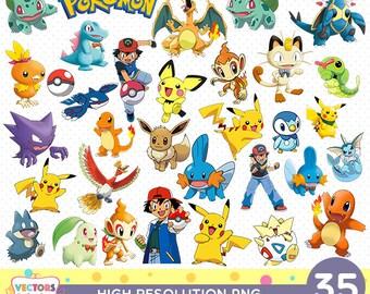 Pokemon CutOut Printable, Pokemon PNG Files, Decoration Scrapbook Stickers Birthday Party Clipart pikachu bulbasaur pokeball ash charmander