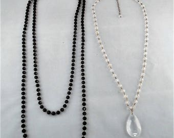 """Black Plastic Bead Necklace and Clear Plastic Bead Necklace (Set of 2) 16""""/ 35"""""""