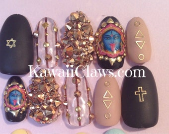 Kali goddess Rose Gold Swarovski & matte 3d nail art false/fake nails