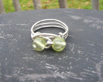 Silver Wire Wrap Ring with Green Clear Glass Beads