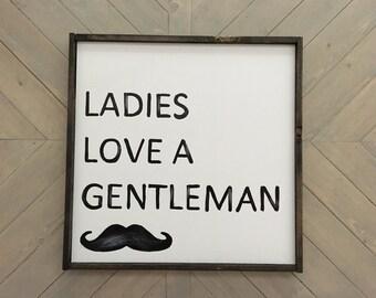 Rustic Boy Nursery Sign, Gentleman, Moustache