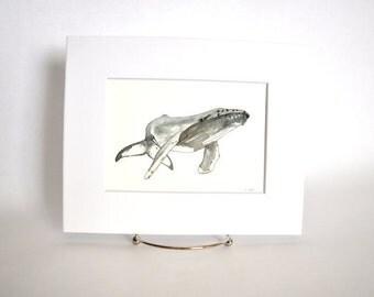 Original Watercolor Humpback Whale
