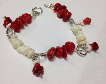 Bamboo Coral and Shell Bracelet