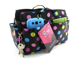 Periea Black/Brown Polka Dot Handbag Organiser - Medium Size | PRYA