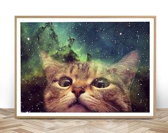 Cat Staring into Space-JPG-300 dpi-cat meme,lol cat,cosmic cat,cat humor,cat staring,universe cat,catprint,print cat,frame,frame cat,pic cat