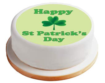 "Happy St Patrick's Day / Shamrock / Irish Themed - 8"" Pre-Cut Round Cake Topper Premium Sugar Icing Sheet"