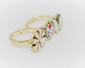 Vintage Nature Inspired Double Finger Ring, Two Finger Ring with flower butterfly and crystal Rhinestones, One-of-a-kind Double Finger Ring.