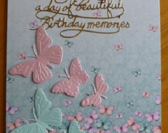 Hunkydory Butterflies in pink and turquoise 7x5  270