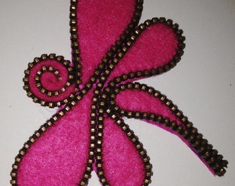Pink Dragonfly Brooch handmade. Original felt brooch