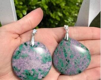 Purple Sea Sediment Jasper Stone Pendants With Silver Plated Bail - Green Jasper Pendant Stone Necklace - Jasper Sea Sediment - Gift For Her