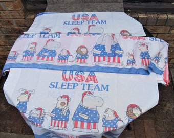 Boynton Sleep Olympics Full Flat Sheet and Pillowcases Patriotic Craft Fabric