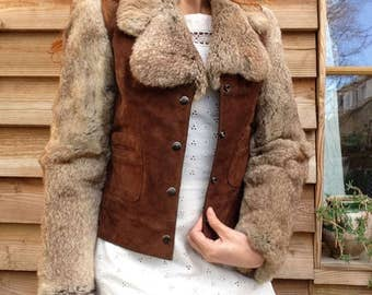 1970s French VTG Suede Brown Leather and Silver Fox Jacket