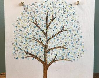 Tree dot painting on wood